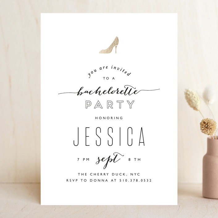 """""""Golden Slipper"""" - Whimsical & Funny, Bold typographic Bachelorette Party Invitations in Porcelain by Phrosne Ras."""