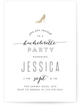 This is a black and white bachelorette party invitation by Phrosne Ras called Golden Slipper with standard printing on signature in standard.