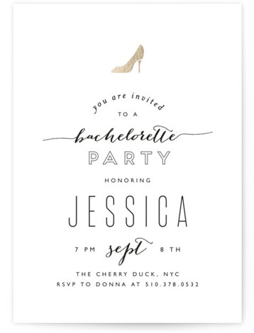 This is a portrait bold typographic, whimsical, black and white Bachelorette Party Invitations by Phrosne Ras called Golden Slipper with Standard printing on Signature in Classic Flat Card format. A stylish, elegant typographical design for a bachelorette party! Featuring a ...