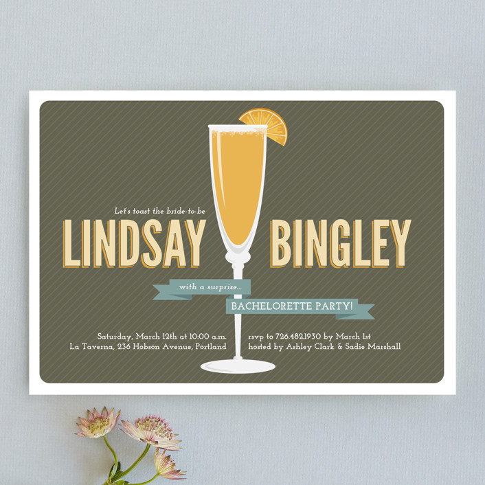 """Fresh Mimosa"" - Bold typographic, Modern Bachelorette Party Invitations in Chocolate by Jessica Williams."