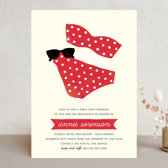 """Polka Dot Swim"" - Whimsical & Funny Bachelorette Party Invitations in Watermelon by Olive and Jude."