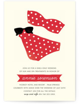 This is a red bachelorette party invitation by Olive and Jude called Polka Dot Swim with standard printing on signature in standard.