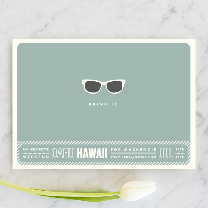 """""""Shades"""" - Whimsical & Funny Bachelorette Party Invitations in Celadon by Olive and Violet."""