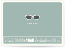 This is a blue bachelorette party invitation by Olive and Violet called Shades with standard printing on signature in standard.