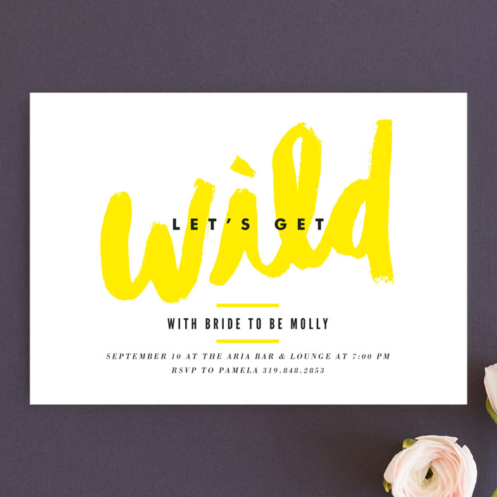 """Let's Get Wild"" - Whimsical & Funny Bachelorette Party Invitations in Lemon by Monica Tuazon."