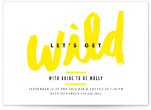 This is a yellow bachelorette party invitation by Monica Tuazon called Let's Get Wild with standard printing on signature in standard.