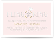 This is a pink bachelorette party invitation by Leslie Ann Jones called Fling Before the Ring with standard printing on signature in standard.