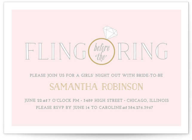 "This is a landscape whimsical, pink Bachelorette Party Invitations by Leslie Ann Jones called Fling Before the Ring with Standard printing on Signature in Classic Flat Card format. 7"" x 5""Size. A sophisticated invitation for a classy girls' night out ..."
