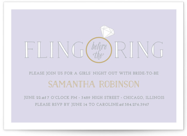 This is a landscape whimsical, purple Bachelorette Party Invitations by Leslie Ann Jones called Fling Before the Ring with Standard printing on Signature in Classic Flat Card format. A sophisticated invitation for a classy girls' night out with the bride ...