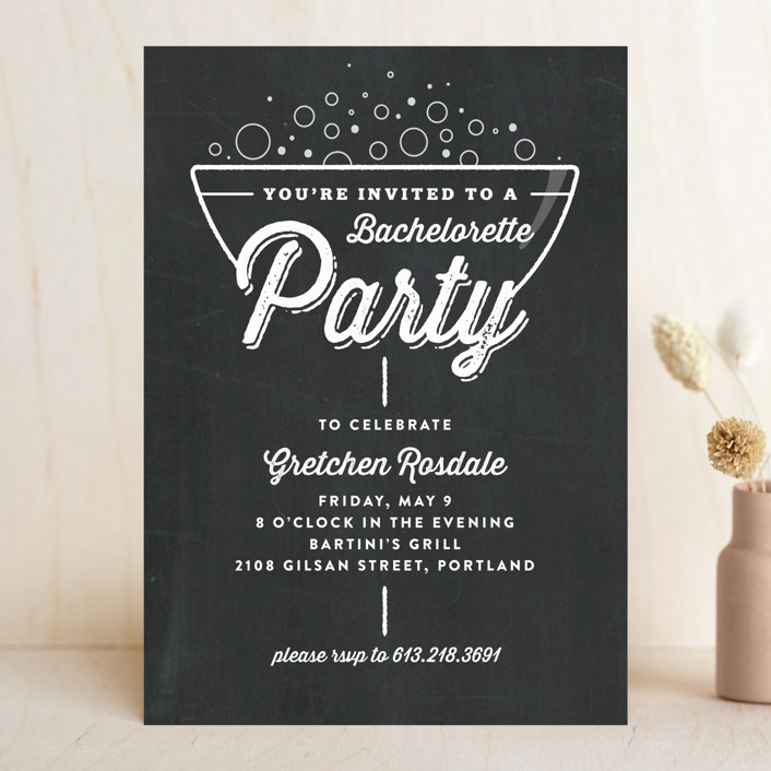 """A Little Bubbly"" - Vintage Bachelorette Party Invitations in Chalkboard by Carrie ONeal."