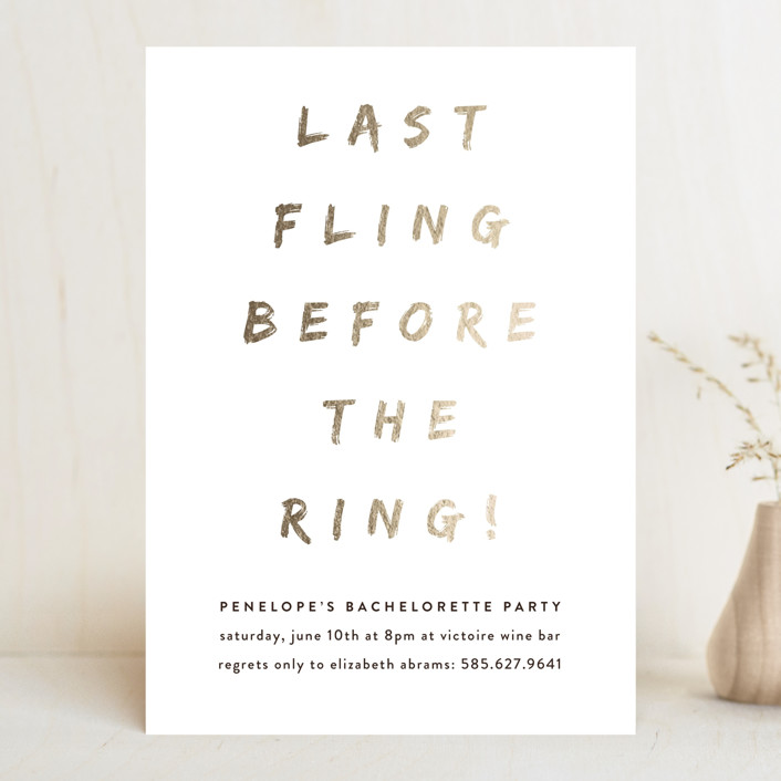 """Last Fling Bling"" - Simple, Funny Bachelorette Party Invitations in Gold by Up Up Creative."