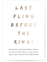 This is a gold bachelorette party invitation by Up Up Creative called Last Fling Bling with standard printing on signature in standard.