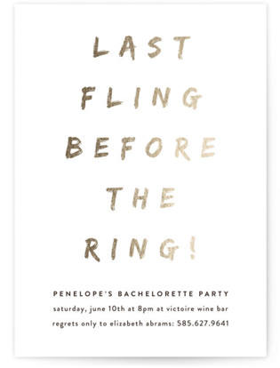 Last Fling Bling Bachelorette Party Invitations