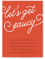 This is a red bachelorette party invitation by Genna and Cara called Let's Get Saucy with standard printing on signature in standard.