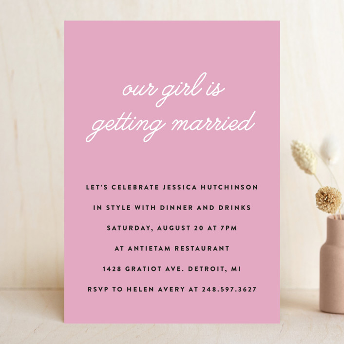 """Our Girl"" - Simple Bachelorette Party Invitations in Lilac by Genna and Cara."