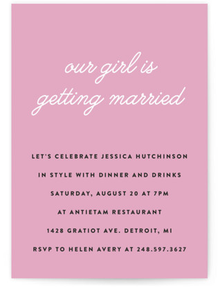 Our Girl Bachelorette Party Invitations