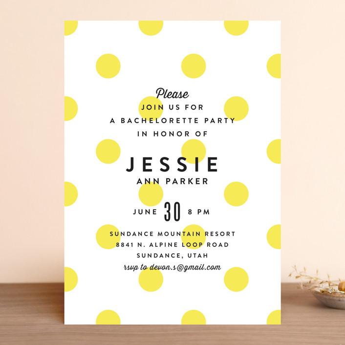 """Modern Fun"" - Preppy, Whimsical & Funny Bachelorette Party Invitations in Lemon Drop by Jill Means."