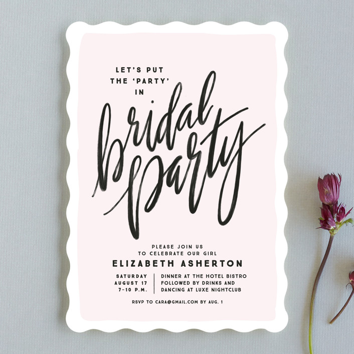 """bridal party party"" - Bachelorette Party Invitations in Blush by Lea Delaveris."