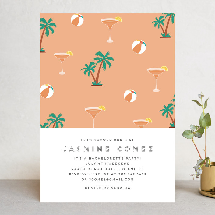 """""""Tropical Bliss"""" - Bachelorette Party Invitations in Peach by Jennifer Lew."""