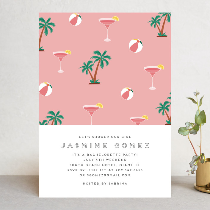 """""""Tropical Bliss"""" - Bachelorette Party Invitations in Grapefruit by Jennifer Lew."""