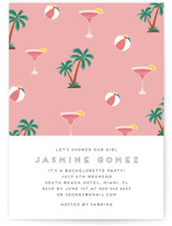 This is a pink bachelorette party invitation by Jennifer Lew called Tropical Bliss with standard printing on signature in standard.