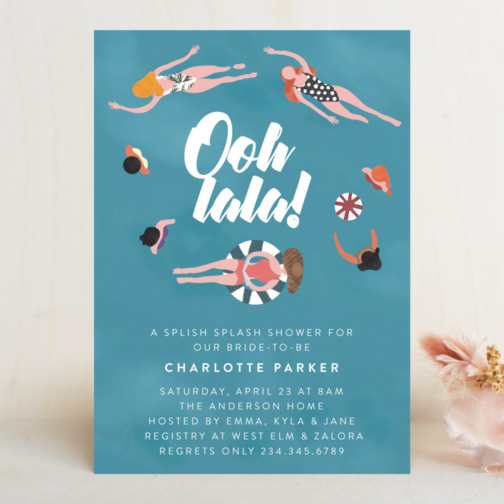 """Cool Pool"" - Bachelorette Party Invitations in Summer by Grae Sales."