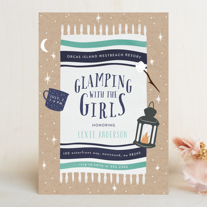 """Gone Glamping"" - Bachelorette Party Invitations in Aqua Navy by Angela Garrick."