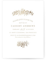 This is a gold baptism and christening announcement by Phrosne Ras called Perfect Posey with foil-pressed printing on signature in standard.