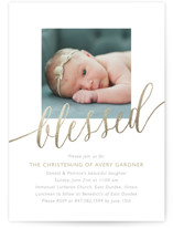 This is a gold baptism and christening announcement by Erin Deegan called Blessed Baby with foil-pressed printing on signature in standard.