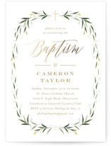 This is a brown baptism and christening announcement by Carolyn MacLaren called Eucalyptus Wreath with foil-pressed printing on signature in standard.
