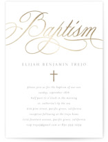 This is a gold baptism and christening announcement by Erin Deegan called formally contemporary with foil-pressed printing on signature in standard.