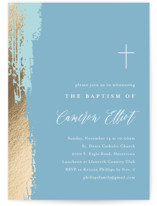 This is a blue baptism and christening announcement by Carolyn MacLaren called Artsy with foil-pressed printing on signature in standard.