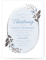 This is a blue baptism and christening announcement by Karidy Walker called Woodland Wreath with foil-pressed printing on signature in standard.