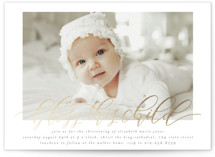 This is a beige baptism and christening announcement by Grace Kreinbrink called Classic Blessings with foil-pressed printing on signature in standard.