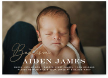 This is a gold baptism and christening announcement by Chasity Smith called Script Baptism with foil-pressed printing on signature in standard.