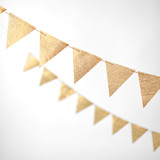 This is a gold wedding garland by Minted called Gold Glitter Triangle 10-ft..