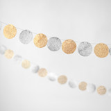 This is a gold wedding garland by Minted called Silver & Gold Glitter Circle 10-ft..