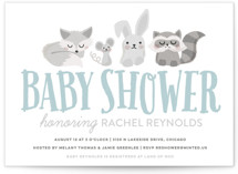 This is a blue baby shower postcard by Jessie Steury called Woodland Buddies with standard printing on signature in postcard.