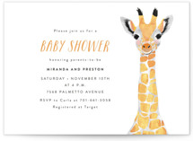 This is a colorful baby shower postcard by Cass Loh called Baby Animal Giraffe with standard printing on signature in postcard.