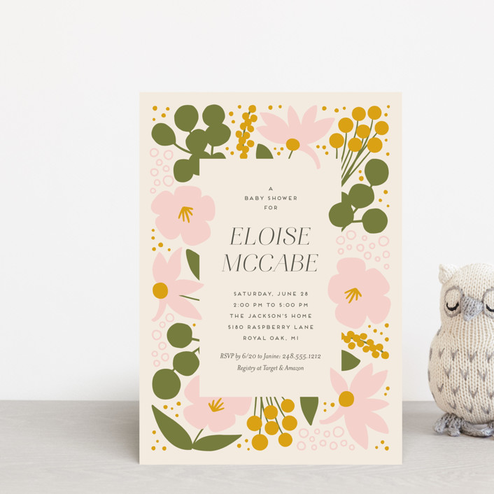 """""""Blossoms Abound"""" - Baby Shower Postcards in Chartreuse by Genna Blackburn."""