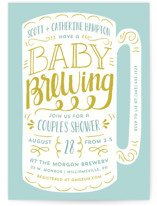 This is a yellow baby shower postcard by Laura Hankins called Baby Brewing with standard printing on signature in postcard.