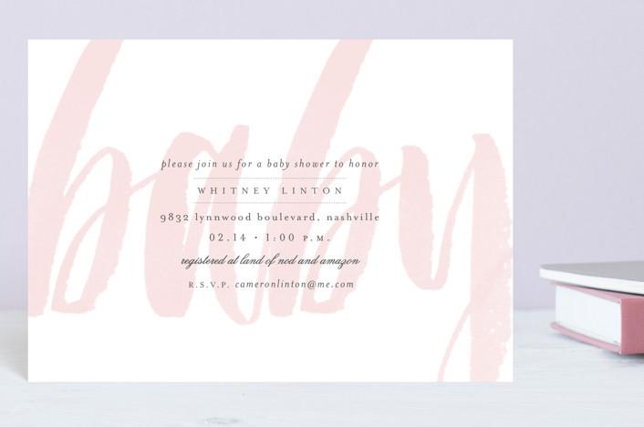 """Whisper"" - Baby Shower Postcards in Blush by Sara Hicks Malone."