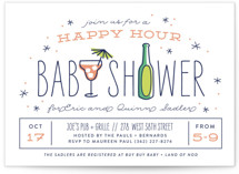 This is a orange baby shower postcard by Laura Hankins called happy hour with standard printing on signature in postcard.