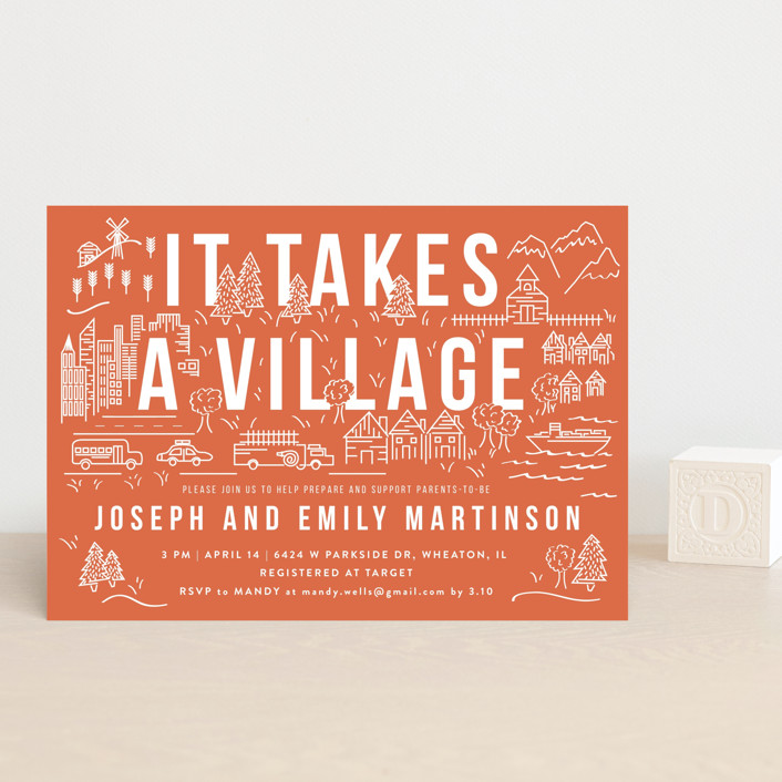 """It Takes A Village"" - Baby Shower Postcards in Coral by Shiny Penny Studio."