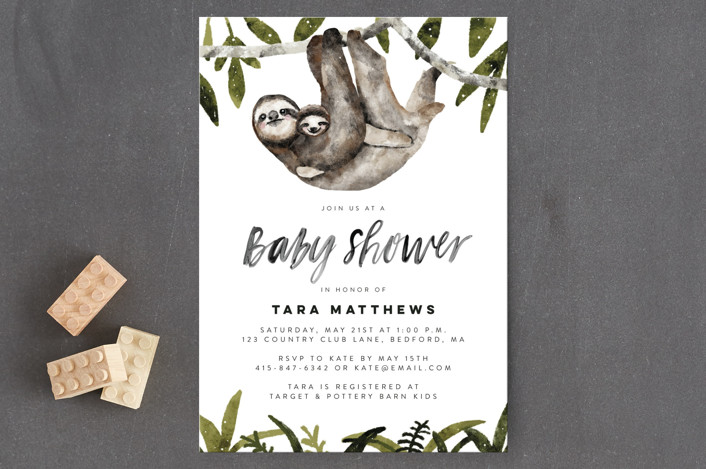"""Sloth hug"" - Baby Shower Postcards in Moss by Cass Loh."