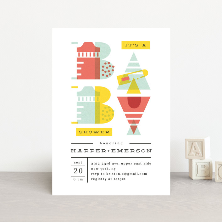 """""""De Stijl baby"""" - Baby Shower Postcards in Cherry by Ana de Sousa."""