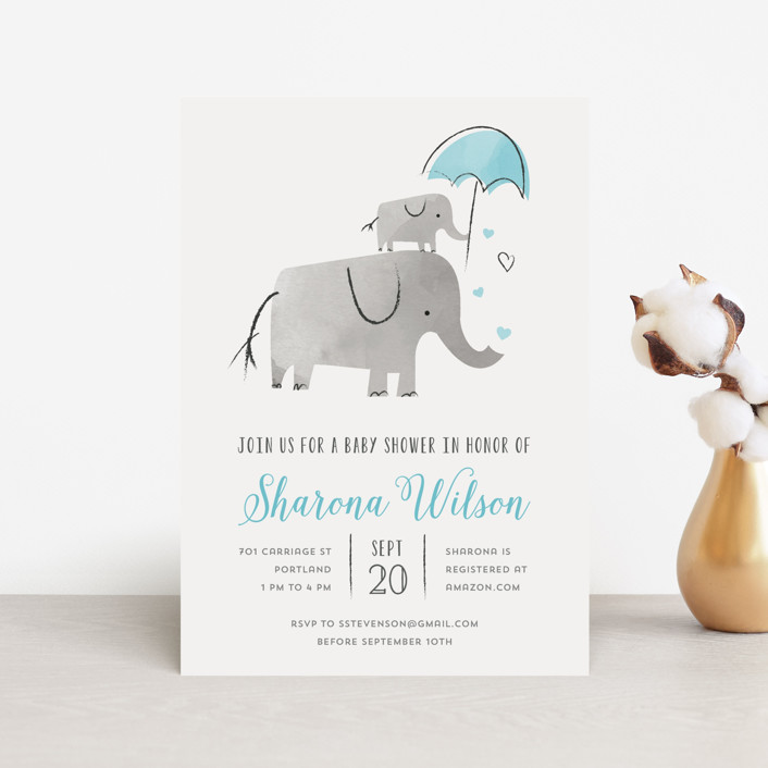 """""""Elephant Love"""" - Baby Shower Postcards in Sky by Chryssi Tsoupanarias."""