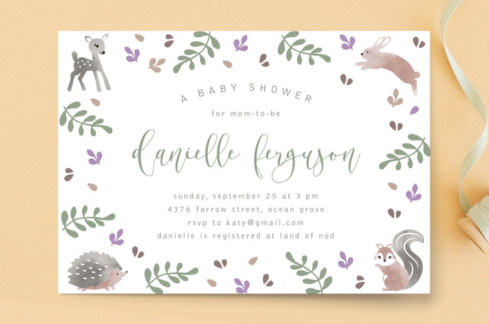 """""""ABC"""" - Baby Shower Postcards in Moss by Kampai Designs."""