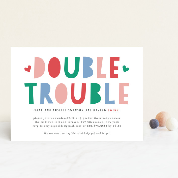 """""""Double Trouble"""" - Baby Shower Postcards in Cotton Candy by Mansi Verma."""