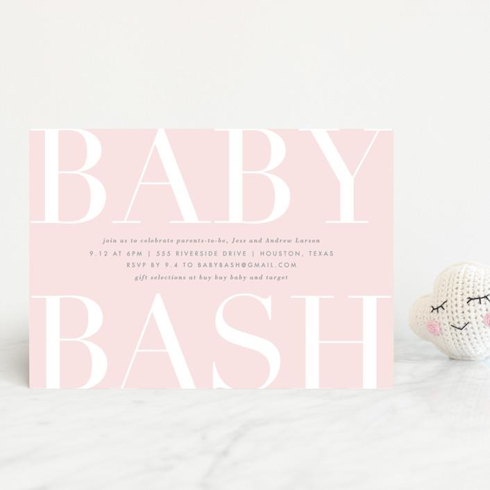 """Big Bash"" - Baby Shower Postcards in Blush by Lauren Chism."
